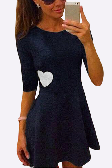 Navy Fashion Round Neck Love Pattern High Waisted Dress