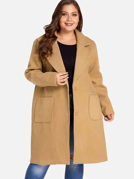 Plus Size Brown Open Front Wool Coat