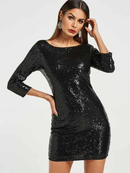 Shiny Black Round Neck 3/4 Length Sleeves Mini Dress