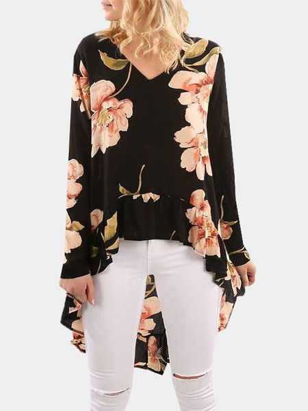 Black V-neck Random Floral Printed Top