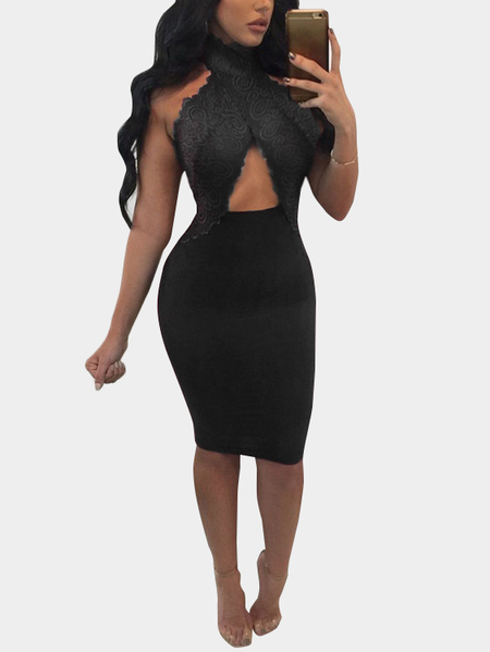 Black Lace Insert Cut Out Halter Sleeveless Sexy Dress