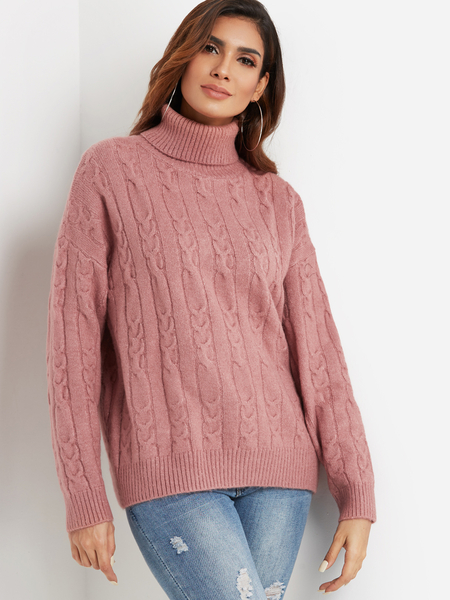 Pink Cable Knit Roll Neck Long Sleeves Sweater