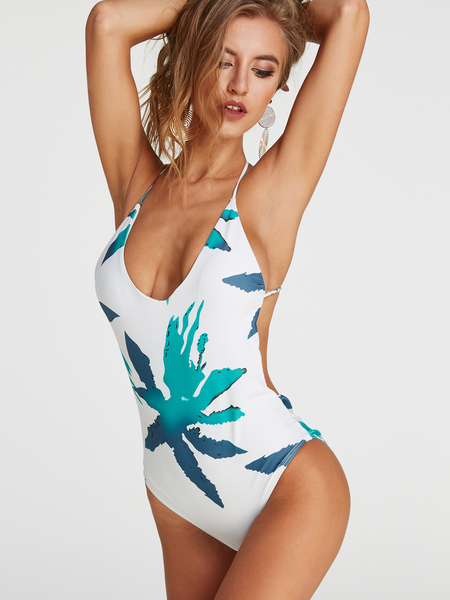 Random Floral Print  Deep V-neck Criss Cross Backless Swimwear
