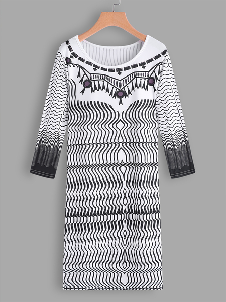 White Wave Pattern Round Neck 3/4 Length Sleeves Dress