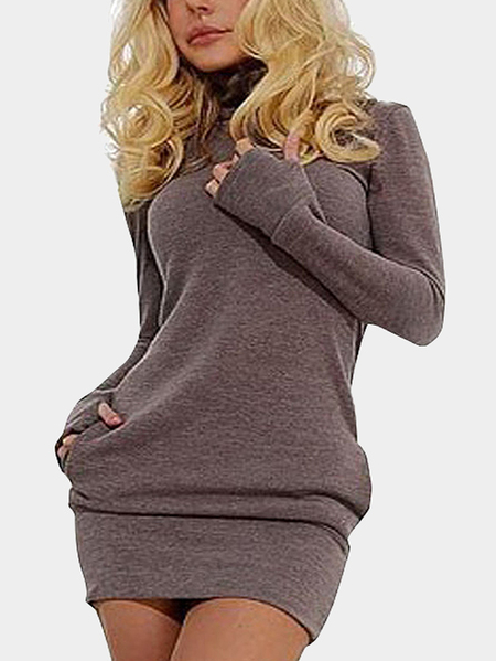 Light Coffee Roll Neck Casual Dress with Two Side Pockets