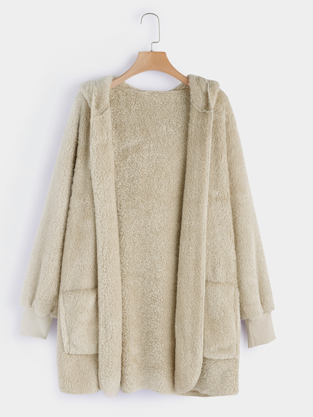 Khaki Hooded Design Long Sleeves Plush Coat