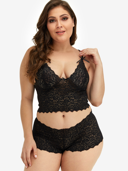 Plus Size Black Lace Detail Lingerie Set
