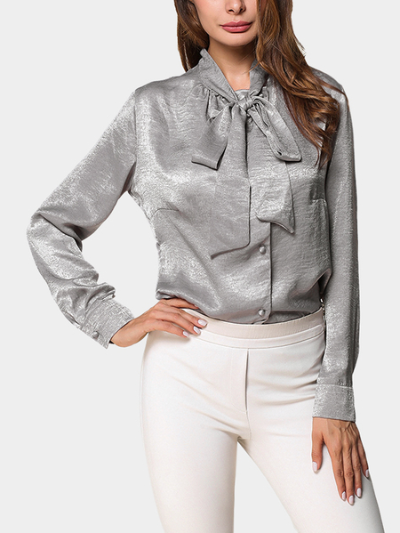 Silver Self-tie Design Long Sleeves Blouses