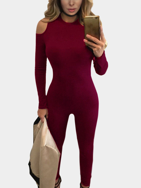 Red Sexy Bodycon Round Neck Cold Shoulder Jumpsuits
