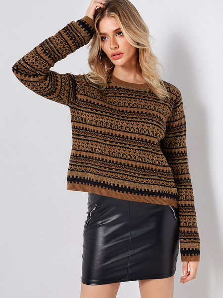 Brown Crew Neck Long Sleeved Random Tribal Print Sweater
