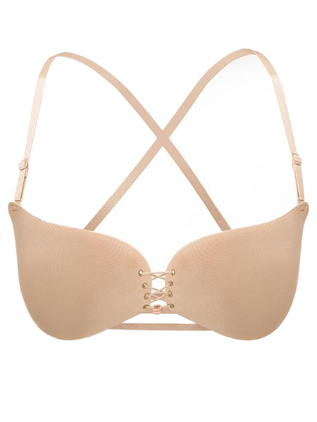 Nude Push Up Criss-cross Back Lace-up Front Bra