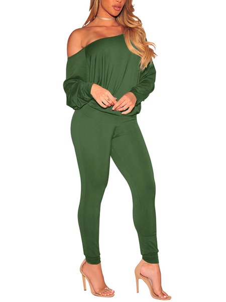 Army Green Sexy Off-The-Shoulder Basic Two Piece Outfits