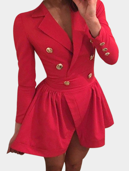 Red Crossed Front Design Lapel Collar Long Sleeves Wrap Dresses