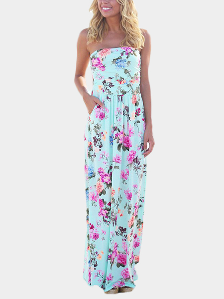 Off Shoulder Random Floral Print Maxi Length Dress