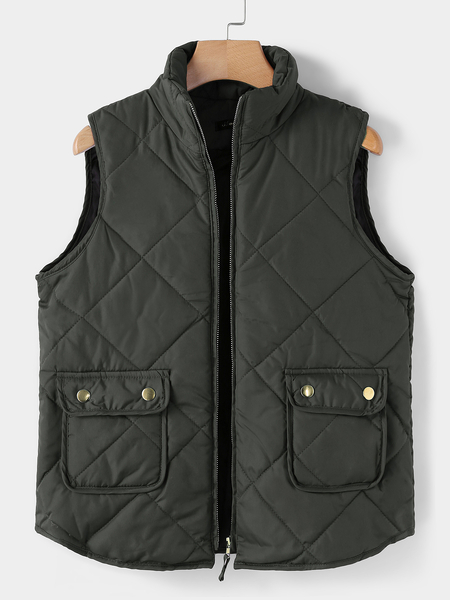 Greyish green High Neck Sleeveless Gilet Outfit