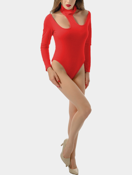 Red Halter Design Long Sleeve Irregular Bodysuit