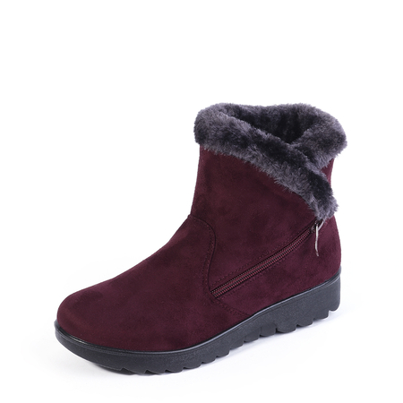 Yoins Burgundy Zip-Design Fur Lined Boots