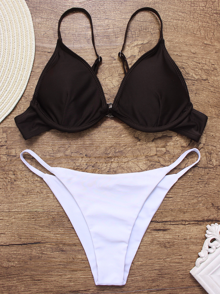 c8dd66af7e Grey Sexy Plunge V-neck Triangle Bikini Set