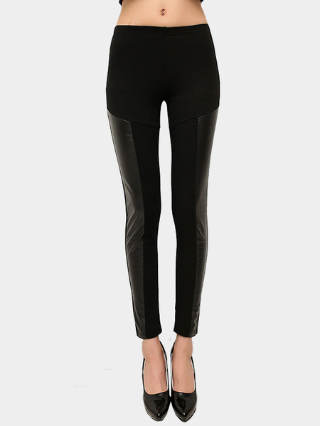 Artificial Leather Details Fashion Leggings in Black