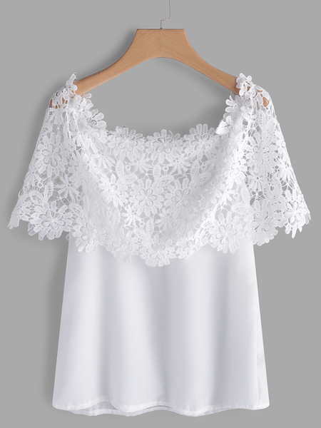 White Lace Insert Plain Off The Shoulder Short Sleeves Blouse