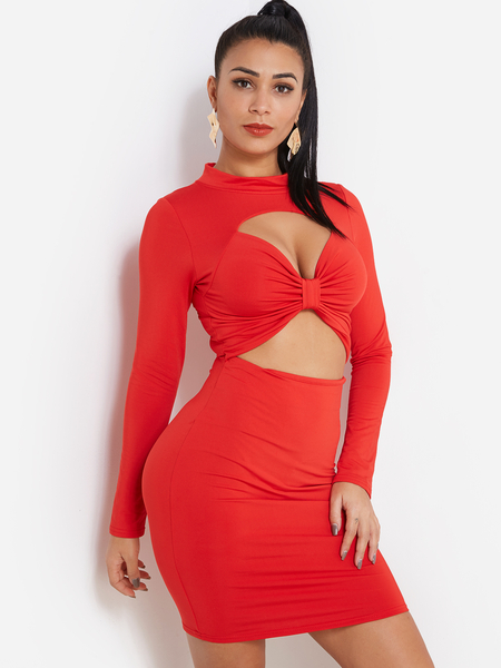 Red Cut Out Long Sleeves Bodycon Sexy Party Dresses