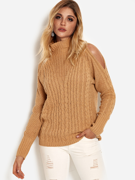 Khaki Cut Out High Neck Long Sleeves Knitted Sweater