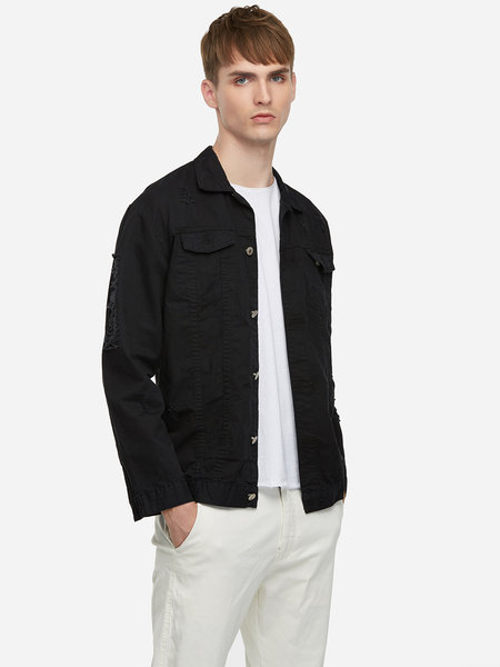Black Ripped Occasion Style Pocket Design Classic Collar  Full Sleeve Jacket