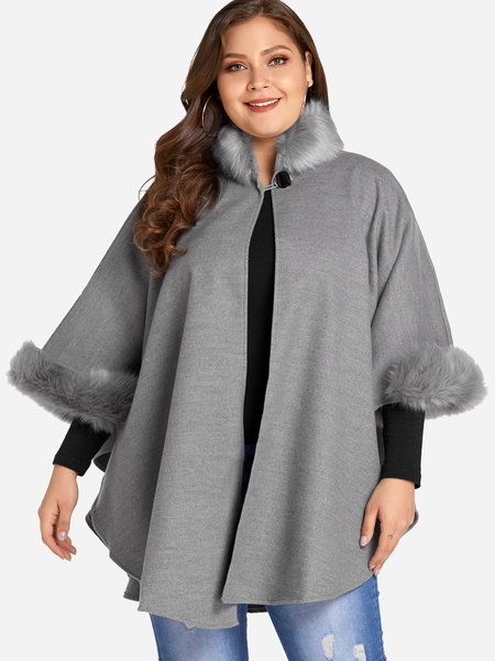 Plus Size Grey Faux Fur Trim Cape