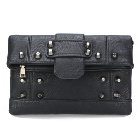 Leather-look Seam Detail Clutch Bag with Rivet Embellished
