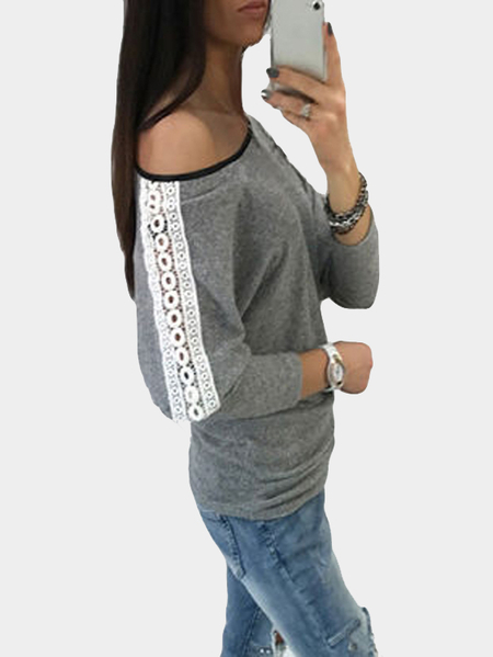 Grey One Shoulder Hollow Lace Insert Design Casual Top