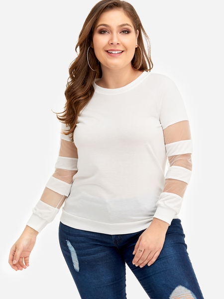 Plus Size White Mesh Paneled Sleeves Sweatshirt