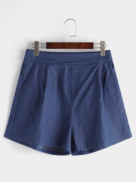 Plus Size Blue Pocket Elastic Waist Shorts