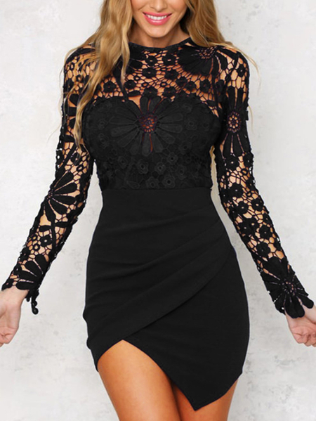 Black Irregular Hem Long Sleeves Mini Dress with Lace