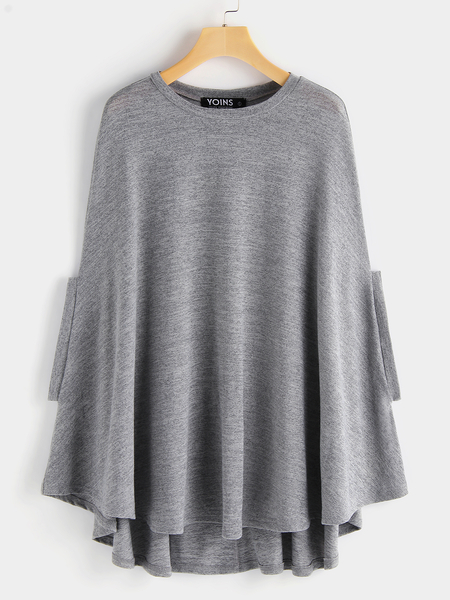 Grey Round Neck Soft Knit Cape with Arm Holes