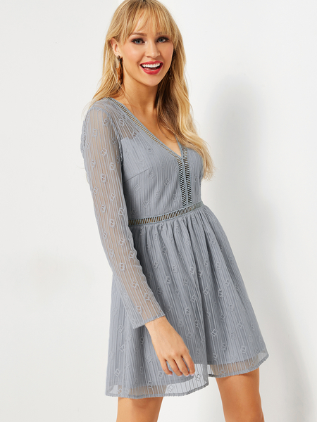 Grey Hollow Design V-neck Long Sleeves Dress