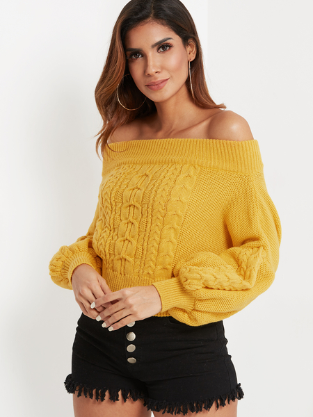 Yellow Cable Knit Off The Shoulder Lantern Sleeves Sweater