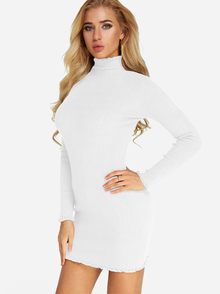White Long Sleeves Bodycon Knitted Dress