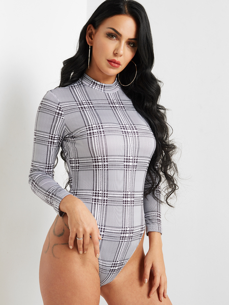Mock Neck Check Bodysuit