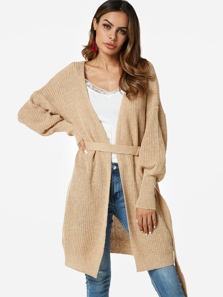 Beige Self-tie Open Front Design Lantern Long Sleeves Coat
