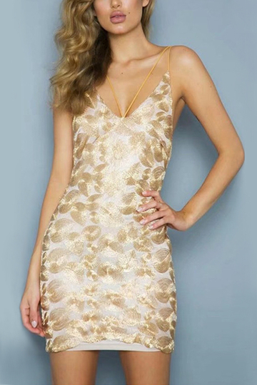 Gold Sexy Embroidered Open Back Bodycon Dress