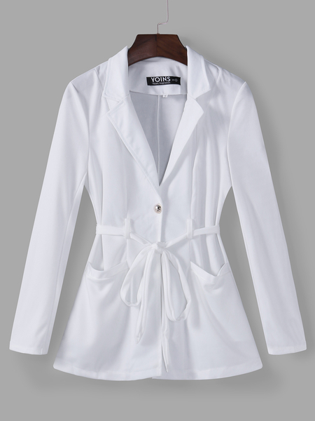 Yoins White Self-tie Design Lapel Collar Mini Trench Coat