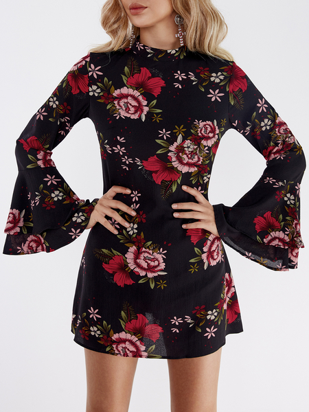 Black Random Floral Print Perkins Collar Flared Sleeves Dress