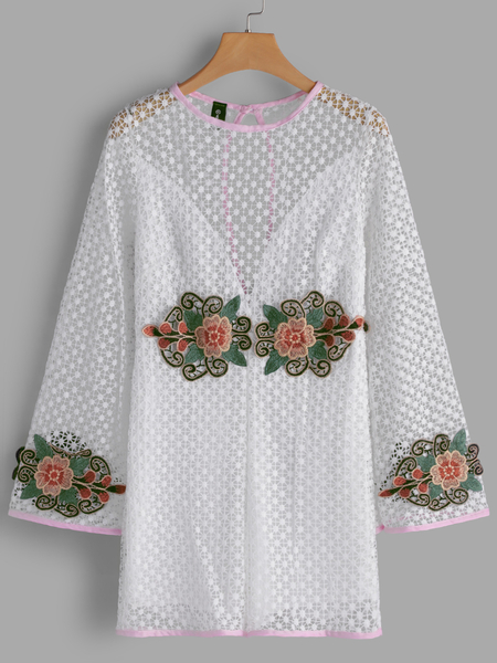 White Embroidered Hollow Design Playsuits with Lining