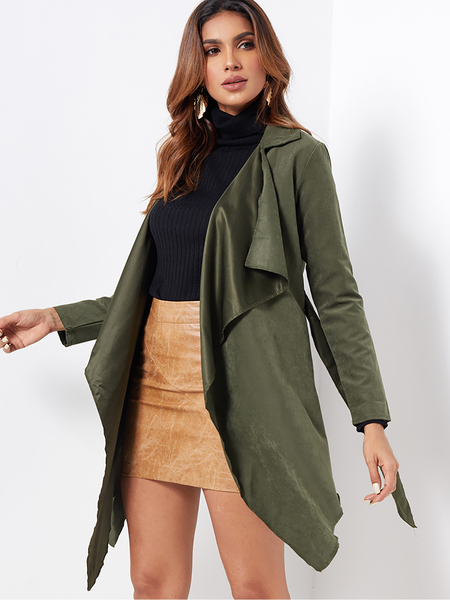 Green Self-tie Design Lapel Collar Long Sleeves Irregular Hem Trench Coat