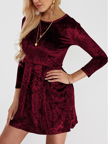 Burgundy Plain Round Neck Flounced Hem Mini Party Dress