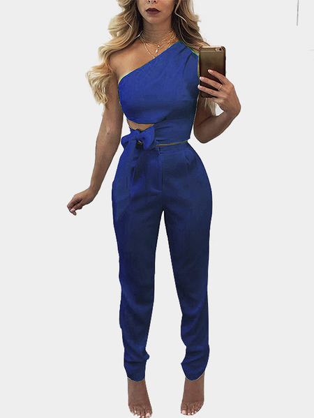Blue Lace-up Design Crop Top & Zip Back Design Pants Suits