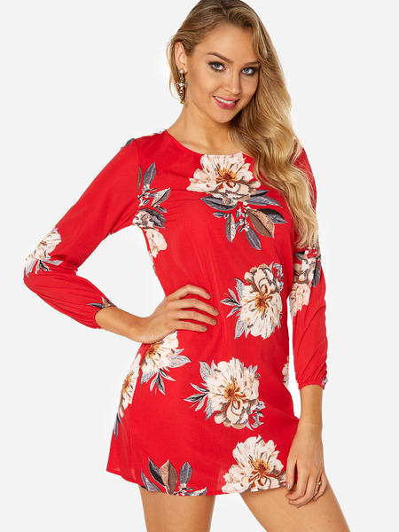 Red Random Floral Print Round Neck Long Sleeves Tie-up at Back Dress