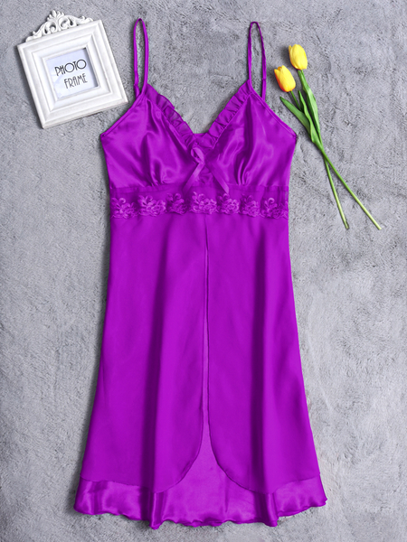 Purple V-neck Lace Trim Silk Material Pajamas Dress
