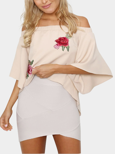 Apricot Off-The-Shoulder Embroidered Chiffon Top