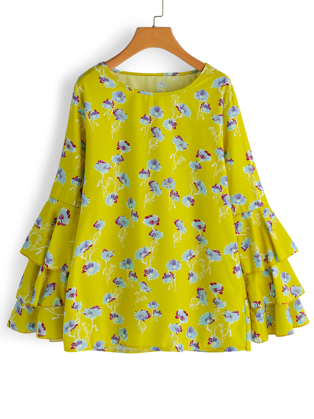Yellow Random Floral Print Round Neck Long Tiered Bell Sleeves Blouses